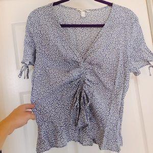 H&M size 12 light blue floral blouse